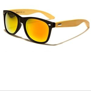 Accessories - Wood Wayfarer Sunglasses with Amber Lens